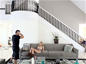 wild Alexa grace gets her minge rammed after getting caught in Chads mansion