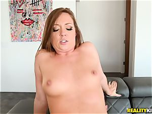 jizm drinking man meat dicksucker Maddy OReilly sits her cunt on a humungous fuck-stick