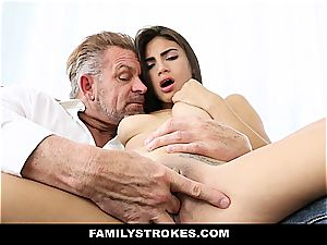 youthfull Latina sandwiched by step-father and stepbro