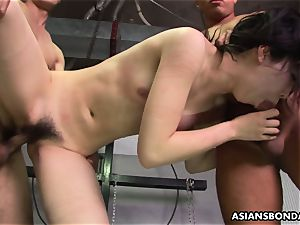 Roughed up asian nubile getting bashed by the boys
