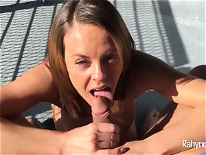 Rahyndee James brown-haired babe blow-job arched Over Balcony
