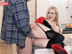 buxom mummy educator entices and pummels college girl