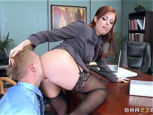 redhead manager Britney Amber tears up a wild employee