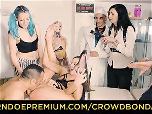 CROWD bondage obedient Amirah Adara first-ever time bdsm