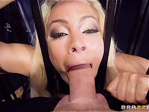 caged lubricated up stunner Luna starlet beaten nutsack deep in the backside