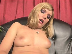 Pretty Victoria shine toying with a ginormous red fuck stick