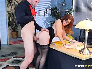 Dani Jensen toying with man sausage in the office