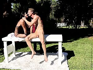 India Summer creampied on the stroking table part 2