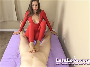 clad female gives you hand job and footjob