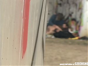 Homeless three way Having lovemaking on Public