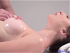 scorching massage turns to voluptuous intercourse and this black-haired goddess likes it