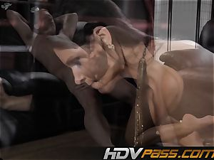 brown-haired babe India Summer tears up with lust in livingroom