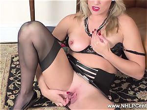blonde finger pulverizes humid slit in girdle antique nylons
