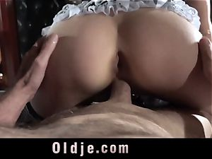 Step daddy Caught smashing The Maid