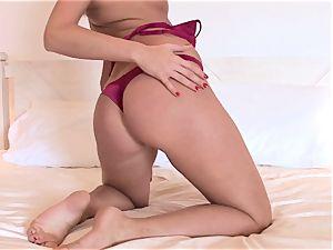 Lauren May super-sexy stunner taking off her maroon g-string