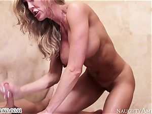huge-titted cougar Brandi enjoy with giant bosoms tempts her stepson in the douche