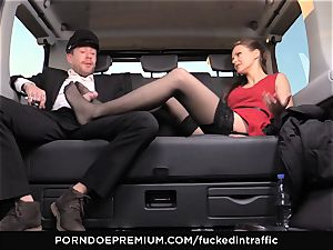 boned IN TRAFFIC Tina Kay footjob in the backseat