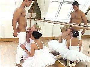 three inhaling Ballerinas Getting mischievous