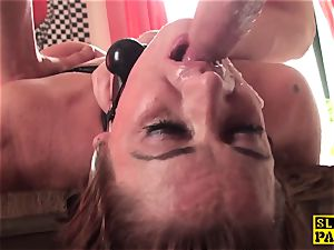 red-haired british sub assfucked and tied