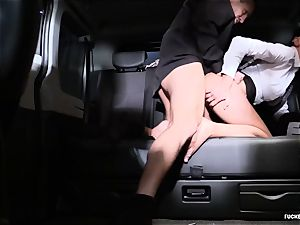 pummeled IN TRAFFIC - Czech black-haired enjoys red-hot car fuck-a-thon
