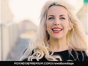 CROWD restrain bondage - obedient blonde Fesser harsh bondage & discipline fucky-fucky