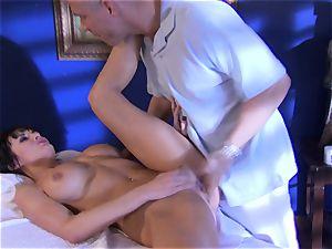 honey Alektra Blue fills her throat with her lover's hefty manhood until she chokes