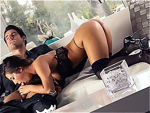 killer Eva Lovia is instructing her beau some manners before the party