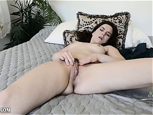 Juliette March plays with her hairy vagina