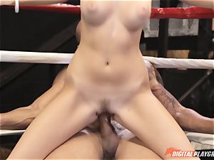 Alexis Adams pussy wrinkled in the boxing ring by phat shaft