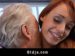 Oldman Gustavo blessed to shag super-sexy Erica Fontes