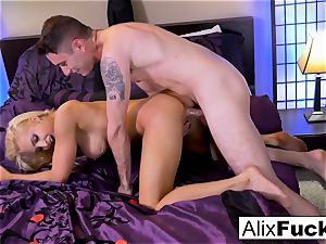 Alix Lynx strokes Brad's pink cigar with her cooter and jaws